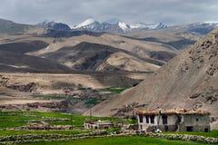 Ein traditionelles tibetanisches Haus in einem buddhistischen Dorf in Ladakh: eine Steinbretterbude im Vordergrund, zentrierte gr Stockbild