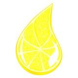 Ein Tropfen des Zitronensaftes Stockbild
