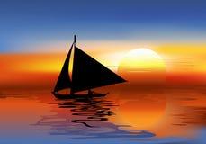 Ein tropischer Landschaftssonnenuntergang mit einem Boot lizenzfreie abbildung