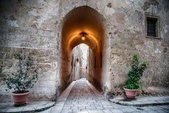 Ein Tunnel, der zu eine der gepflasterten, schmalen Straßen in historischem Mdina, Malta führt Zwei Blumentöpfe können am Eingang Stockfotografie