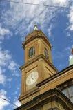 Ein Turm des Asinelli und des Garisenda Stockbild
