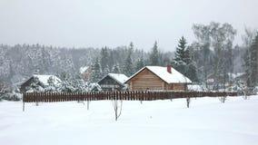 Ein typisches russisches Dorf im kalten Winter stock video