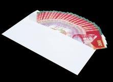 Ein Umschlag mit Geld, Rechnungen von NIS 200 Stockfoto