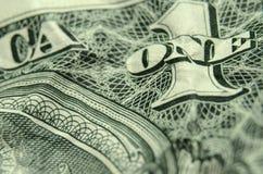 EIN und 1 auf Rückseite ausgesiebter US-Dollar Rechnung lizenzfreie stockfotos
