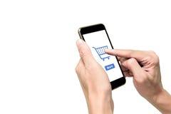 Ein unter Verwendung des Smartphone für e-commerse Lizenzfreies Stockfoto