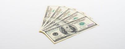 Ein US-Dollar Banknoten auf weißem Hintergrund buckes Stockbilder