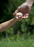 Ein Vater, der seine Kinderhand im Wald hält Stockfoto