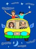 Ein Vater, eine Mutter, eine Schwester und ein Bruder fliegen auf das Auto durch den Himmel Lizenzfreie Abbildung