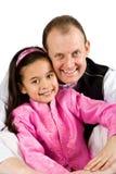 Ein Vater und seine Tochter in der traditionellen indischen Kleidung Lizenzfreie Stockbilder