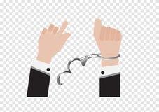 Ein Vektor der Freiheitshand von der Handschellenknechtschaft des Gefangenen oder des Geschäftsmannes in der hinteren Klage und d lizenzfreie abbildung