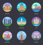 Ein Vektor-Illustrations-Satz Weltstädte Stockfotos