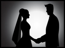 Hochzeits-Paar-Schattenbild Stockbild