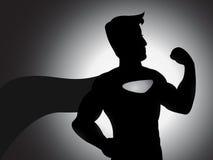 Mächtiges Superheld-Schattenbild Stockfotografie
