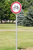 Ein Verkehrsschild mit einem Bild eines Fahrrades Lizenzfreies Stockfoto