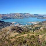 Lyttleton Hafen-Stadt u. Hafen Christchurch, Neuseeland. Stockfoto