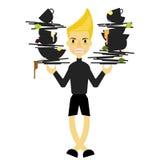 Ein vieler Jungengriff schmutziger Teller für räumen hinter Küchenrestaurant auf Lizenzfreie Stockfotografie