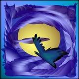 Ein Vogel im Mondschein Stockfotografie