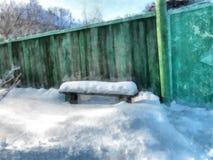 Ein voller Tag des Winters, eine ländliche Landschaft mit einem rustikalen Shop mit a Stockbilder
