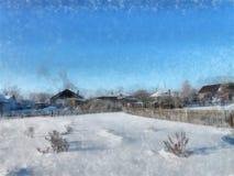 Ein voller Tag des Winters, eine ländliche Landschaft mit einer rustikalen Gartenabdeckung Lizenzfreies Stockfoto