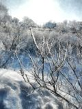 Ein voller Tag des Winters, eine ländliche Landschaft mit einer rustikalen Gartenabdeckung Stockfoto