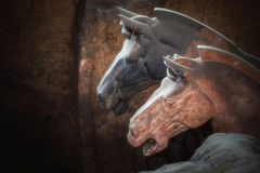 Ein von UNESCO-Bauerben; Terrakottakrieger; Wieder hergestellter Terra stockfotos