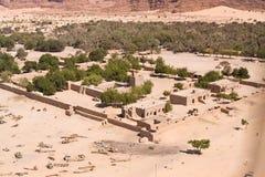 Ein Wüstendorf in Tschad in Nordafrika Stockbild
