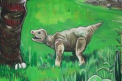 Ein Wandbild von Dinosauriern in Gondwana, das prähistorische Museum in Deutschland Stockfotos