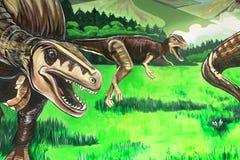 Ein Wandbild von Dinosauriern in Gondwana, das prähistorische Museum in Deutschland Stockfoto