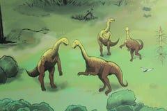 Ein Wandbild von Dinosauriern in Gondwana, das prähistorische Museum in Deutschland Stockfotografie