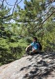 Ein Wanderer, der die Ansicht genießt lizenzfreie stockbilder