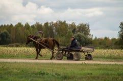 Ein Warenkorb mit einem Pferd in einem russischen Dorf Lizenzfreie Stockfotografie