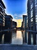 Ein warmer Sonnenuntergang in Paddington, London Stockbilder