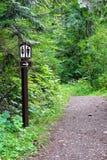 Ein Waschraumzeichen entlang einem Weg, der in den Wald zeigt Lizenzfreie Stockbilder