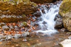 Ein Wasserfall auf einem Gebirgsfluss Lizenzfreie Stockfotografie
