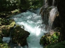 ein Wasserfall in einem Park Stockfoto