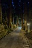 Ein Weg durch das Okunoin nachts im alten buddhistischen Kirchhof Stockbild