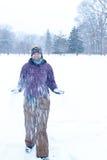 Ein Weg im Schnee Stockfoto