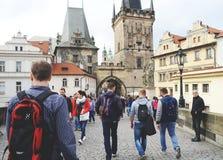 Ein Weg mit einer Ansicht, Prag, 2017 stockfotografie