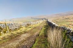 Ein Weg zwischen Bruchsteinmauern in den Yorkshire-Tälern Lizenzfreie Stockfotografie