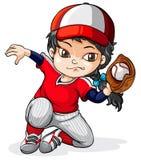 Ein weiblicher asiatischer Baseball-Spieler Lizenzfreies Stockfoto