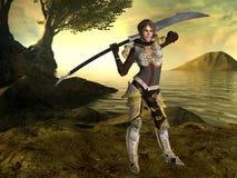 Ein weiblicher Kämpfer mit einer Klinge und einem Fantasiehintergrund lizenzfreie abbildung