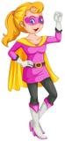 Ein weiblicher Superheld mit einem Kap Lizenzfreie Stockbilder