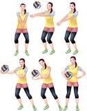 Ein weiblicher Volleyballspieler in einer gelben sportlichen Kleidung stock abbildung
