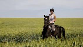 Ein weibliches Reiten auf einem schwarzen Pferd Stockfotografie