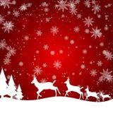 Ein Weihnachtsdesign mit Ren, Bäumen, Geschenken und Schneeflocken stock abbildung