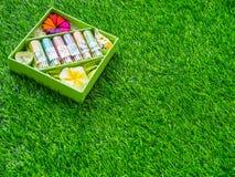 Ein Weihrauchsatz wird auf einen grünen Rasen gesetzt Lizenzfreie Stockfotos