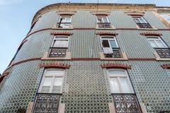Ein Weinleseart façade in der Mitte von Lissabon, Portugal Stockbild