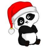 Ein weniger schüchterner Weihnachtspanda Pandababy, Illustrationspanda, Vektorillustration Stockbild
