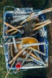 Ein Werkzeugkasten des Malers Stockfotos