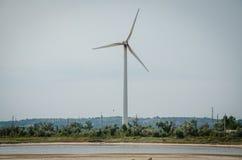 Ein Wind-betriebener Generator an der Basis vom Grüneren lizenzfreies stockbild